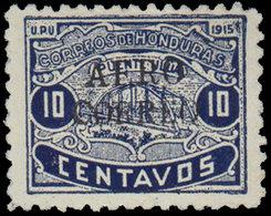 * HONDURAS - Poste Aérienne - 2a, Surcharge Noire, Cachet De Contrôle Au Verso (tirage 24), Très Grosse Rareté De Pa: 10 - Honduras