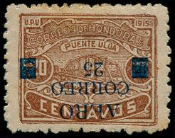 * HONDURAS - Poste Aérienne - 6, Surcharge Renversée, Signatures Multiples D'experts (tirage 12): 25 S. 20c. Brun - RR - - Honduras