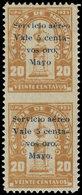 * HONDURAS - Poste Aérienne - 21, Paire Verticale Non Dentelée Entre (tirage 25), Cachets De Contrôle Au Verso 22/05/30 - Honduras
