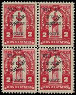 ** HONDURAS - Poste Aérienne - 56, Bloc De 4, Surcharge Renversée (1 Ex. *) - Honduras