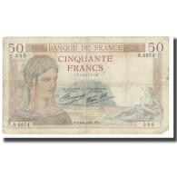 France, 50 Francs, Cérès, 1937, P. Rousseau And R. Favre-Gilly, 1937-09-09 - 1871-1952 Antichi Franchi Circolanti Nel XX Secolo