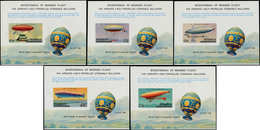 ** PENRHYN - Blocs Feuillets - Poste Yvert 264A/E, 5 Feuillets Spéciaux Non Dentelés, Non émis: Ballons, Zeppelins - Penrhyn
