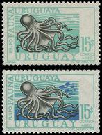 ** URUGUAY - Poste Aérienne - 336, Couleur Bleu Foncé Manquante (poisson Et Fond): 15p. Poulpe (+ Normal) - Uruguay