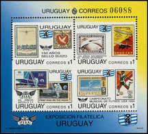 ** URUGUAY - Blocs Feuillets - 45, Variété Non Dentelé Entre Horizontalement, Les 2 Timbres Inférieurs Non Dentelés Vert - Uruguay