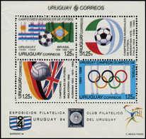** URUGUAY - Blocs Feuillets - 48, Double Impression Du Noir (plis De Fabrication): Football 94, Jeux Olympiques - Uruguay