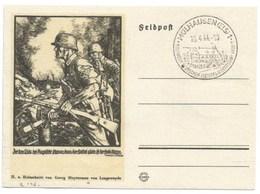 R146 - MULHAUSEN - 1944 - Entier FELPOST KARTE Illustré LINOLSCHNITT Von GEORG SLUYTERMAN - MULHOUSE - - Alsace-Lorraine
