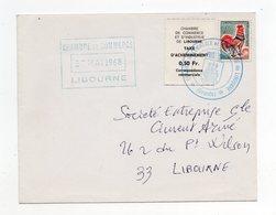 !!! PRIX FIXE : GREVE DE LIVOURNE 1968, VIGNETTE ET CACHET DE LA CHAMBRE DE COMMERCE ET D'INDUSTRIE - Marcophilie (Lettres)