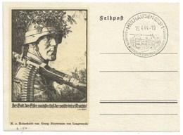 R150 - MULHAUSEN - 1944 - Entier FELPOST KARTE Illustré LINOLSCHNITT Von GEORG SLUYTERMAN - MULHOUSE - - Alsace-Lorraine