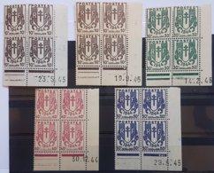 N° 670 (2 Nuances Différentes) + 671 + 672 + 673 ** (MNH) Coins Datés Du 23/5/45, 19/9/45, 14/2/45, 30/12/44, Et 29/5/49 - 1940-1949