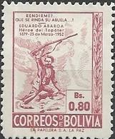 BOLIVIA 1952 73rd Death Anniversary Of Abaroa (patriot) - 80c E. Abaroa MNH - Bolivie