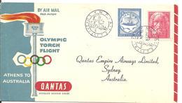 1956 Transport Par Avion De La Flamme Olympique: Olympie / Melbourne: Cachet Arrivée Stade Olympique. - Sommer 1956: Melbourne