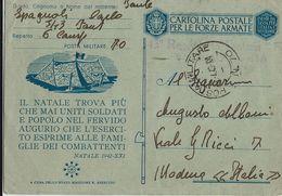 FRANCHIGIA WWII POSTA MILITARE 70 1943 CORIZA ALBANIA X MODENA - 1900-44 Vittorio Emanuele III