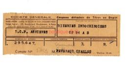 Titre En Depot Rizeries Indochinoises Asniere Senemaud - Other