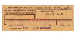Titre En Depot Mines De Lens Asniere Senemaud - Other