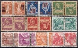 Switzerland Suisse Schweiz 1921-1942, 10x Inverted Pairs (tête-bêche) (MNH, **) - Tête-Bêche