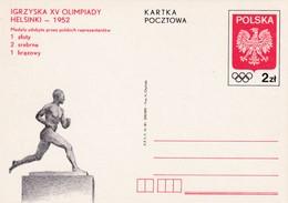 Poland 1952 Postal Stationery Card: Olympic Games Helsinki; Paavo Nurmi Statue; Eagle Adler; Polish Medal Table - Sommer 1952: Helsinki