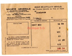 Titre En Depot Releve Recapitulatif Mensuel Societe Generale 1947  Asniere Senemaud - Other