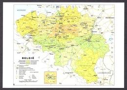 Belgium / Belgie - Geographic Map, Karte, Carte, Mappa, Belgio - Postcard - Cartes Géographiques