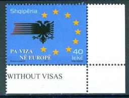 Albania 2010 No Visa Europe 1v MNH - Albanien