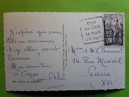 "Cachet Flamme DAGUIN "" CALVI Son Golfe Sa Plage,Son Soleil"", Corse , Sur Carte Citadelle , 1955, TB - Postmark Collection (Covers)"