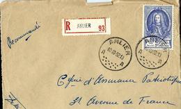 Doc. De  ANLIER - A A - Du 10/10/52 Avec N° 887 (UPU)   En Rec. - Poststempel