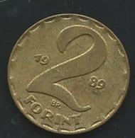 Hongrie   1989 2 FORINTS  -   Laupi 12509 - Hungary