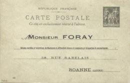 42 - ROANNE  - Carte Commerciale - Entier Postal Perforé -  M. FORAY - Roanne