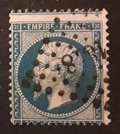 Empire Dentele No 22 VARIETE PIQUAGE A CHEVAL,  Obl Pc 1818 De LYON Rhône,  TB - 1862 Napoleon III
