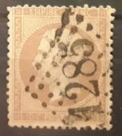 Empire Dentele No 21, 10 C Bistre Obl GC 1285 De DECIZE,  Nièvre,   TB - 1862 Napoleon III