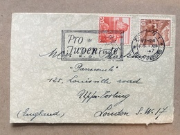 SWITZERLAND 1947 Cover With Pro Juventute Slogan Postmark Sent Zurich To London England - Suisse