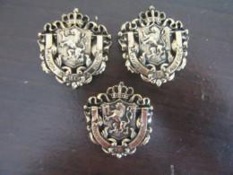 3 Insignes / Plaques Armée Belge - L'Union >Fait La Force - Métal Doré - Sonstige