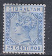 Gibraltar N° 24 X Victoria Avec Valeur En Centimos Et Pesetas : 25 C Outremer Trace De Charnière, TB - Gibraltar