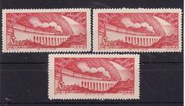 #11940 PR China 1952, 3 X Incomplete Set  (x), Michel 189: Glorious Motherland, Viaduct,  Train - 1949 - ... People's Republic