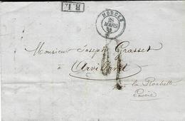 1859- Lettre En Port Du De MORGES Pour Arvillard ( Savoie ) R.L .encadré + Taxe 4 Tampon LOCALE - Suisse