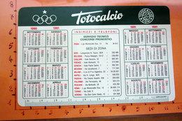CALENDARIO TASCABILE 1990/91 TOTOCALCIO CON GIORNATE CAMPIONATO - Calendars