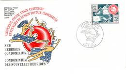 Nouvelles Hebrides Port Vila 1974 UPU U.P.U. Weltpostverein Universal Postal Union Centenary FDC - UPU (Union Postale Universelle)