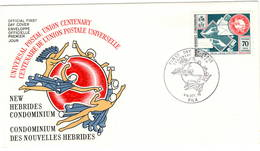 Nouvelles Hebrides Vila 1974 UPU U.P.U. Weltpostverein Universal Postal Union Centenary FDC - UPU (Union Postale Universelle)