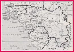 Carte De La Guinée. Carte Avec Voies Ferrées. Larousse 1960. - Documents Historiques
