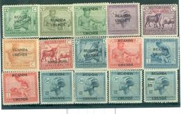 Ruanda Burundi  1925 Série 62 à 76  (légère Trace De Charnière) - Ruanda-Urundi