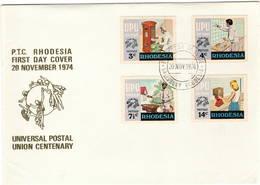 Rhodesia 1974 UPU U.P.U. Weltpostverein Universal Postal Union Centenary FDC - UPU (Union Postale Universelle)