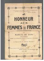 Partition Honneur Aux Femmes De France Chanson Patriotique Par Marcel De Sara Artiste Dramatique - Partitions Musicales Anciennes