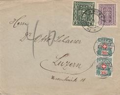Autriche Lettre Wien Taxée En Suisse 1924 - Briefe U. Dokumente