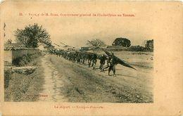 Cpa  YUNANN - Voyage De M Beau, Gouverneur Général De L' Indo-Chine Au Yunam - Le Départ - Troupes D'escorte - Chine