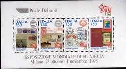 ITALIA REPUBBLICA ITALY 1997 EXPO ESPOSIZIONE MONDIALE FILATELIA STAMP EXHIBITION 98 BLOCCO FOGLIETTO BLOCK SHEET MNH - Hojas Bloque