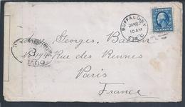 Censored Letter From Buffalo, NY To Paris. Zensierter Brief Von Buffalo, NY Nach Paris. Gecensureerde Brief Van Buffalo - Guerre Mondiale (Première)