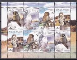 Tr_ Weißrußland Belarus - Mi.Nr. 672 - 675 Zsd-KB  - Postfrisch MNH - Tiere Animals Vögel Birds Eulen Owls - Gallinacées & Faisans