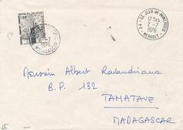 """MADAGASCAR TAXE 50 100f  Obl """" TAMATAVE 6/7/76 """" Sur Lettre De FRANCE - Madagascar (1889-1960)"""