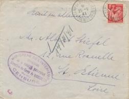 """IRIS 1F Obl """" CAMP DE RIVESALTES PYRÉNÉES ORIENTALES 25/9/41 """" + CENSURE VIOLETTE Lettre - Interné Juif - Concentration - Storia Postale"""