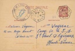 """ENTIER CP IRIS 80c - CENSURE """" CAMP DE ST PAUL D'EYJEAUX """" Haute Vienne En Arrivée - Càd 12/8/41 CHARENTE -  Mauclars - Postmark Collection (Covers)"""