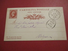 Intero - Cartolina Postale - Viaggiata - Dieci Centesimi - Viaggiata Da Argenta A Bologna - 1861-78 Vittorio Emanuele II